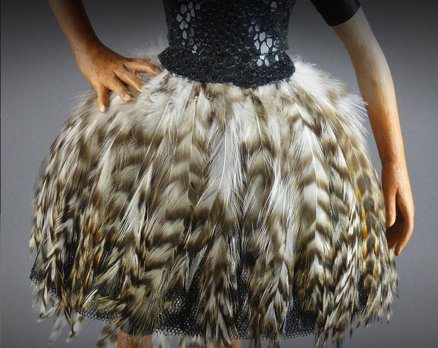 detail of feather tutu